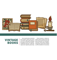 Vintage books manuscript and history textbooks vector