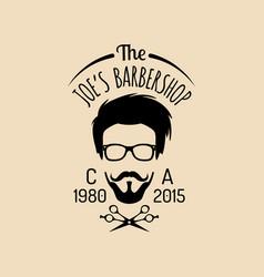 vintage hipster barbershop logo vector image
