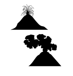 Volcano set of silhouettes vector image