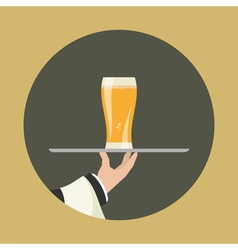 Waiter with glass beer vector