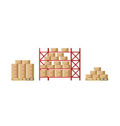warehouse inventory with rack pallet and boxes vector image