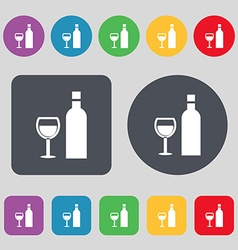 Wine Icon sign A set of 12 colored buttons Flat vector image