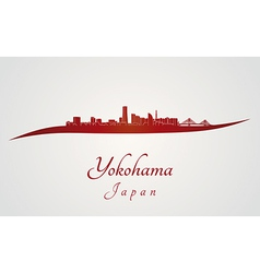Yokohama skyline in red vector