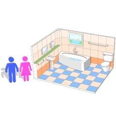Bathroom interior with 3d facilities vector image