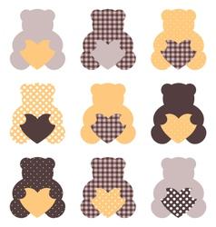 Cute teddy bear set isolated on white vector image vector image