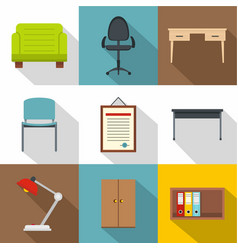furniture shop icons set flat style vector image vector image