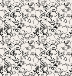 lemons with leaves seamless pattern on white backg vector image