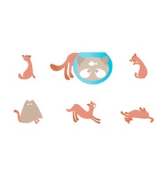 Set of with cats vector image