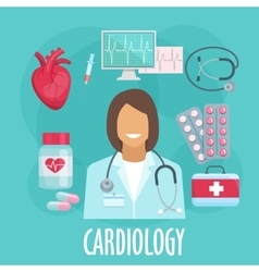 Cardiology flat icon with doctor and medicines vector image