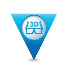 cinema glasses 3d icon map pointer blue vector image vector image