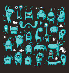doodle monster collection vector image vector image