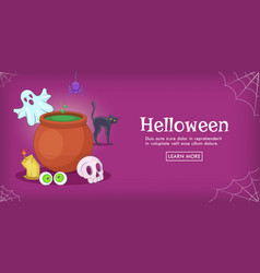 Haloween spooky horizontal banner cartoon style vector