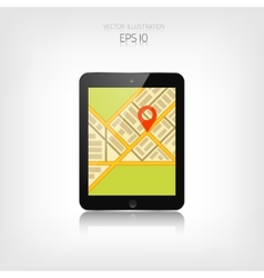 Navigation background with tablet and map vector image