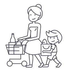 shopping grocerymother with son and shopping cart vector image vector image