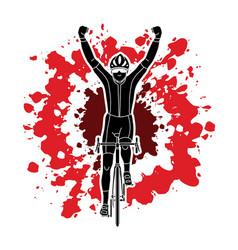 the winner bicycle riding sport man champion biki vector image vector image