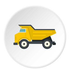 yellow dump truck icon circle vector image vector image