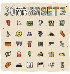 30 Colorful Doodle Icons Set 3 vector image vector image