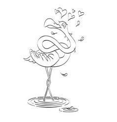 cartoon image of flamingo in love vector image vector image