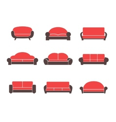 Comfortable sofas and couches vector image vector image