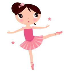 Cute Pink ballerina girl isolated on white vector image vector image