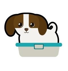 Cute puppy little canine adorable bathtub vector