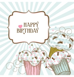 Happy birthday card with cupcakes vector image vector image