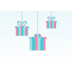 merry christmas paper hanging gift boxes festive vector image vector image