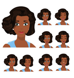 set of young black woman s emotions vector image