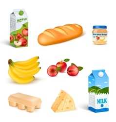 Supermarket Food Isolated Products Set vector image vector image