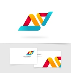 Abstract logo isolated two rounded vector image