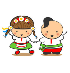 hand-drawn boy and girl dance on a white vector image vector image