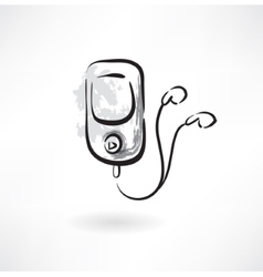 mp3 player grunge icon vector image