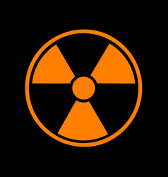 radiation round sign orange icon on black vector image
