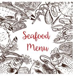 seafood fresh menu template fish crab shrimp vector image