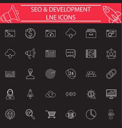 seo and development line icon set vector image vector image