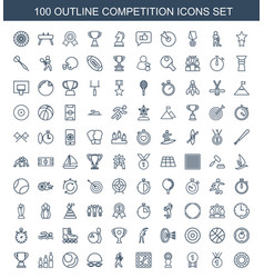100 competition icons vector
