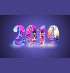 2019 new year greeting banner with reflect vector image