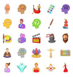 actors icons set cartoon style vector image