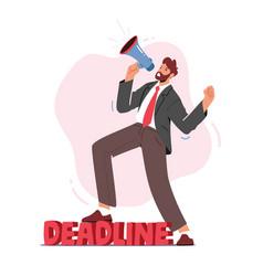 Anxious businessman yell in loudspeaker in office vector