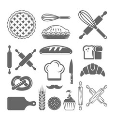 bakery and pastries set design elements vector image