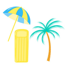 beach umbrella blue and yellow inflatable vector image