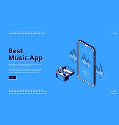 Best music app isometric landing wireless headset vector