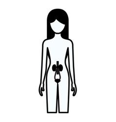 Black silhouette thick contour of female person vector