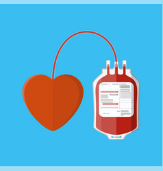 Blood bag and heart vector