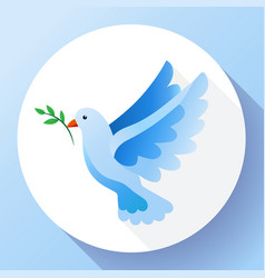 Blue dove with branch peace icon flying blue bird vector