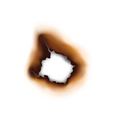 burnt hole in paper sheet isolated damaged surface vector image
