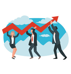 Business partners or team workers achieving vector