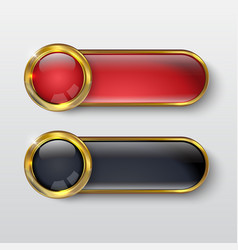 Button premium glossy red gold vector