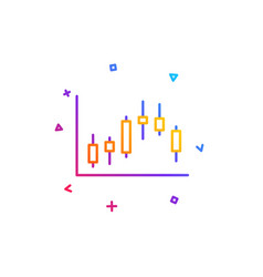 Candlestick chart line icon financial graph vector