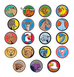 Cartoon animals head circle set vector